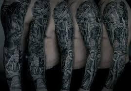Jesus Carrying Cross On Street Mens Full Sleeve Tattoos