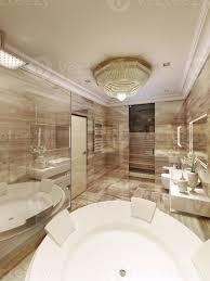klassisches badezimmer mit zugang zur sauna 731743 stock foto