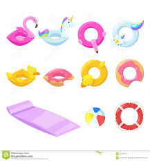 Pool Cute Kids Inflatable Floats Vector Isolated Design Elements Unicorn Flamingo Duck Ball Donut Icons