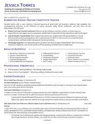 Resume Example Substitute Teacher