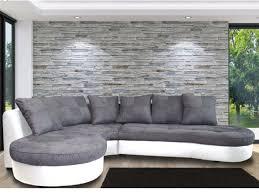 avis vente unique canape canapé d angle gauche bimatière blanc et gris stephane