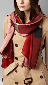 burberry check silk satin scarf parade red in red lyst