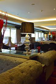 interior design for business lounge in hotel with dim lighting