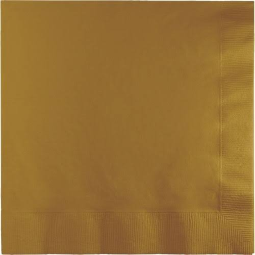 Creative Converting 3-Ply Luncheon Size Paper Napkins - Glittering Gold, 50pcs