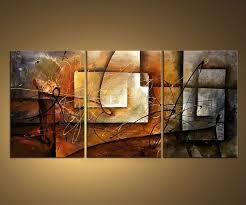 3 painted modern abstract geometric canvas painting