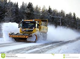 100 Truck With Snow Plow Volvo FM Clears Winter Road Editorial Stock