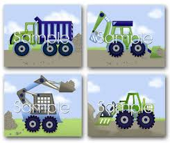 100 Stuber Trucks Set Of 4 Blue Construction Boys Bedroom Nursery 8 X 10 ART