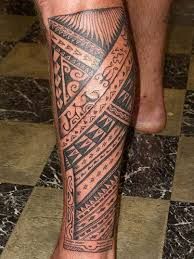 Amazing Hawaiian Tatouage On Man Left Leg Polynesian Calf Tatouages