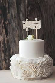 Country Themed Wedding Cake Toppers Best Rustic Ideas On Wood Puzzle Piece Topper Flags Day Ever