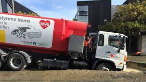 Sinkhole Cools The Truck's Front Deck In Central Christchurch