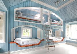 Astonishing Design Of The Blue Wooden Wall Added With White Floor And Bed As