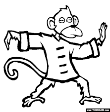 Tai Chi Chimp Online Coloring Page