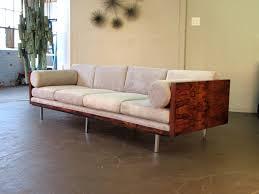 milo baughman for thayer coggin sofa in rosewood and velvet circa