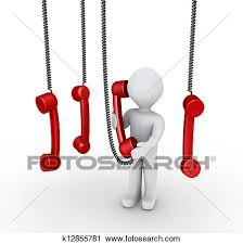 Clipart Of Person Talking On Phone Receiver And Others Hanging From