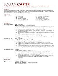 Resume Sample For Retail Sales Associate Carter