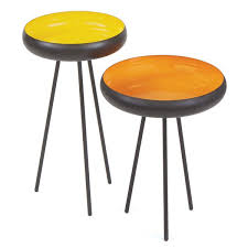 299 Mid Century Modern Yellow And Orange Nesting Side Tables