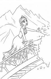 Elsa Making Snow Using Her Magic Power Coloring Page Frozen