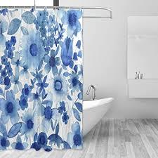 lorvies delft blau duschvorhang set polyester stoff