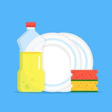 Dishwashing Liquid Kitchen Sponges And Dishes Washing Up Concept Modern Flat