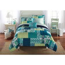 Mainstays Bed in a Bag Bedding forter Set Teal Patch Walmart