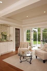 French Doors In Dining Room Living Traditional With Built Bar Optical Print Hardwood Flooring