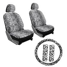 Oxgord Tactical Floor Mats by 9pc White Leopard Cheetah Animal Front Bucket Car Seat Covers