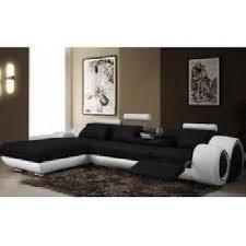 canapé d angle cuir méridienne noir et blanc oslo achat vente