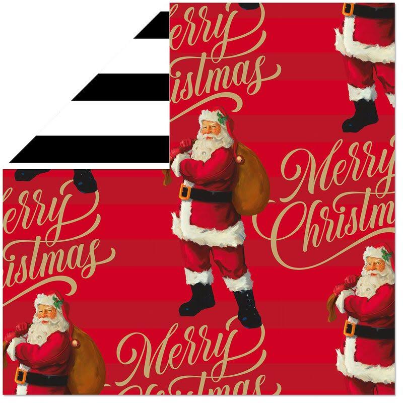 Santa on Red/Black and White Stripes Reversible Wrapping Paper, 40 Sq. ft.