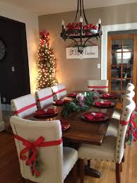 Dinning room for the Holidays Tree in dinning room Ribbons on
