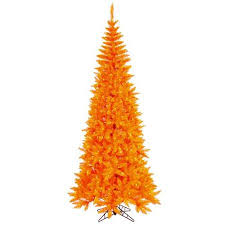 Buy 7539 Pre Lit Orange Fir Slim Artificial Halloween Christmas