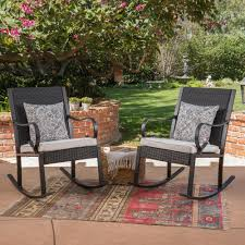 Noble House Harmony Black Wicker Outdoor Rocking Chairs With White ... Wicker Rocking Chair Grey At Home Windsor Black Rocker And End Table Set With Patio Resin Steel Frame Outdoor Porch Noble House Harmony With White 3pc Cushion Good Looking Glider Big Plans Sw Chairs Lounge Dark Brown Amazoncom Cloud Mountain 3 Piece Bistro Decorating Rockers Gliders Coral Coast Casco Bay