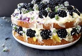 Naked Lemon Olive Oil Cake With Curd Mascarpone Filling Topped Fresh Blackberries And