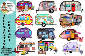 Whimsical RV Travel Trailer Clip Art Illustrations Creative Market