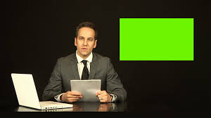 Newsreader Or Tv Reporter Reading The News With Green Screen Stock Footage Video