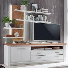 tv lowboard set mit wand regal olbia 208x64x48 cm pinie nordica weiß und wildeiche natur geölt