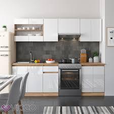 vicco küche raul 240 cm küchenzeile küchenblock einbauküche weiß hochglanz push to open funktion