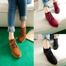 new vintage women ankle boots lace up flat heel flock shoes sales