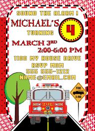 Fireman, Firetruck, Fire Engine Personalized Birthday Invitation 1 ...