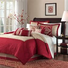 RED Update Your Room With The Ruby Bedding Collection This Quilted Polyester Set Features A Deep Red Accent Color Along Golden Beige For