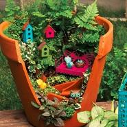 In This Craft Work It Is Made With The Waste Material Like Broken Flower Pot And Natural Floral Plants Little Decor Using Wooden Crafts