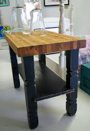 Very Small Rustic Kitchen Island Painted With Black Color Made From Reclaimed Wood Storage And Butcher Block Top Ideas