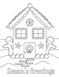 Christmas Gingerbread House And Two Man Side By Coloring Page