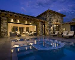 Stone Wall Decor For Luxury Modern Home Design With Small Pool And Exclusive Outdoor Furniture Ideas