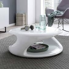 runder wohnzimmer designtisch aus gfk in weiß ulidia