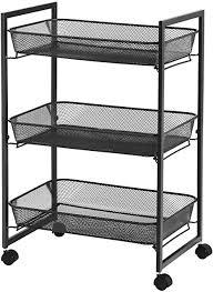 songmics rollwagen haushaltswagen badezimmerregal küchenregal nischenregal mit 3 gitterkörben platzsparend einfacher aufbau küche büro