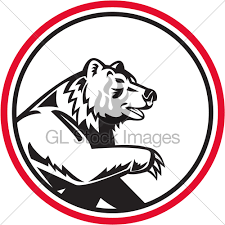 Illustration Of A Angry California Grizzly Nort