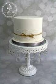 Vintage Lace Wedding Cake With Rustic Jute Bow