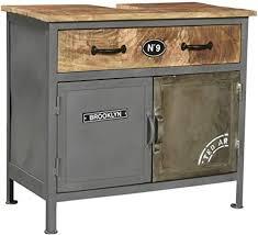 woodkings bad waschbeckenunterschrank pinetown metall recyceltes massivholz antik unterschrank vintage design badmöbel industrial stil metall