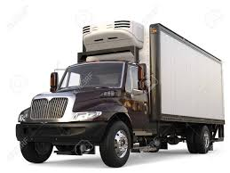 Dark Brown Refrigerator Cargo Truck Stock Photo, Picture And Royalty ...