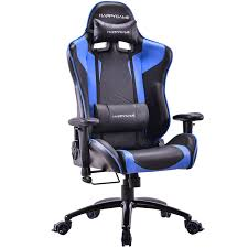 HAPPYGAME Racing Gaming Chair Oversized High-Back Ergonomic Computer Desk  Office Chair PU Leather, Adjustable Headrest And Lumbar Support, Blue